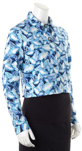 OPENING CEREMONY Blue White Floral Printed Denim Jean Jacket