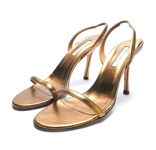 OSCAR DE LA RENTA Bronze Metallic Leather Strappy Sling Back Heel Sandals Sz 41