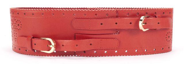 OSCAR DE LA RENTA Red Leather Laser Cut Wide Belt Size M