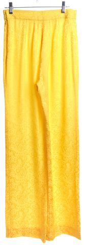 OSCAR DE LA RENTA Yellow Floral Silk Straight Leg Trousers Pants