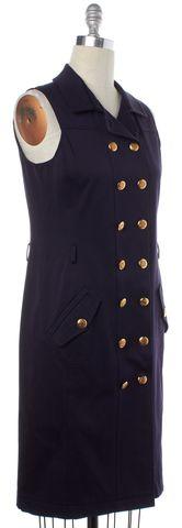 OSCAR DE LA RENTA Navy Blue Gold Button Sleeveless Sheath Dress