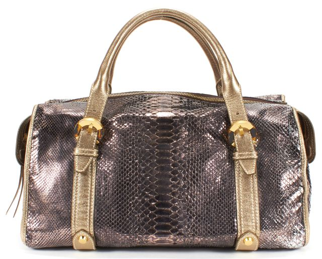 OSCAR DE LA RENTA Gold Bronze Silver Metallic Snakeskin Leather Top Handle Bag