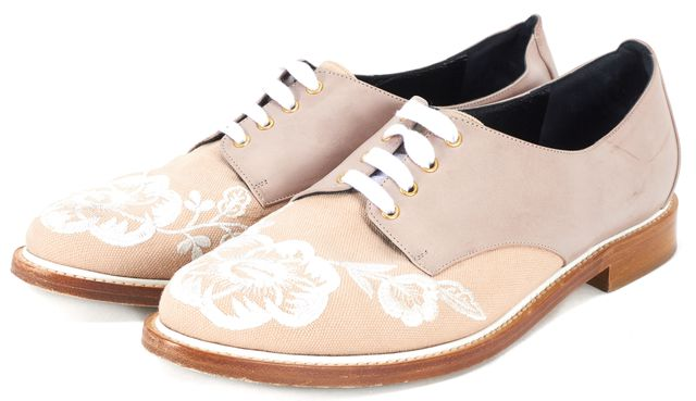 OSCAR DE LA RENTA Mauve Floral Embroidered Leather Canvas Adelayme Oxfords