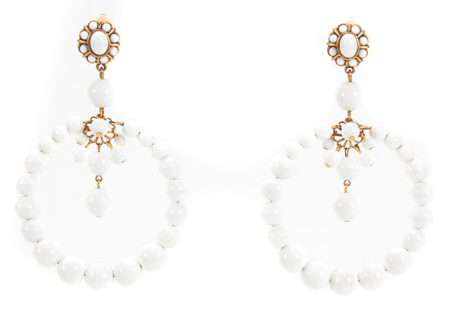 OSCAR DE LA RENTA White Clip Fashion Earrings