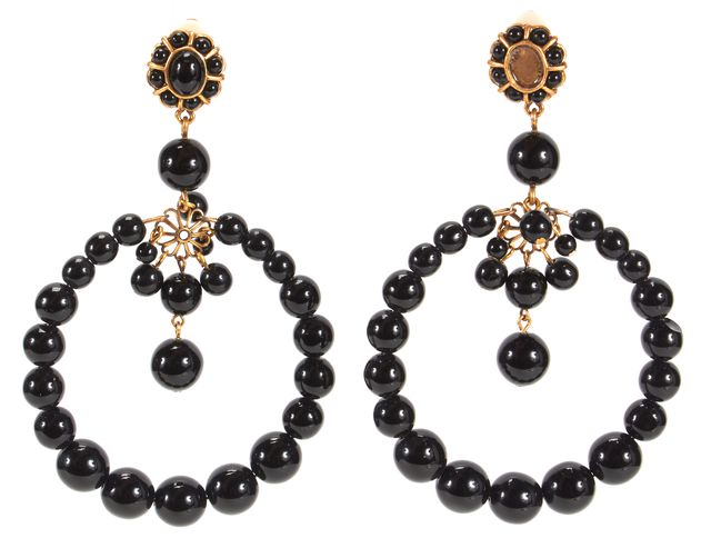 OSCAR DE LA RENTA Black Fashion Clip On Earrings
