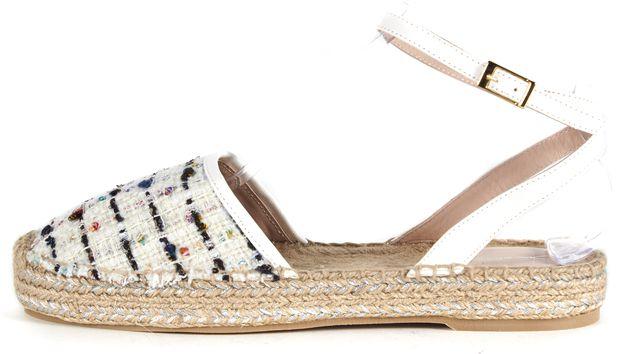 OSCAR DE LA RENTA White Tina Embellished Metallic Midsole Tweed Sandals