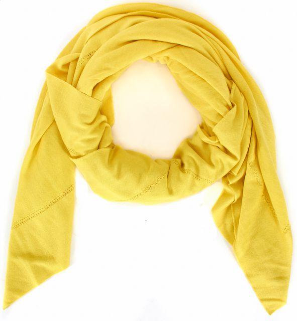 OSCAR DE LA RENTA Yellow Cashmere Silk Knit Large Square Scarf