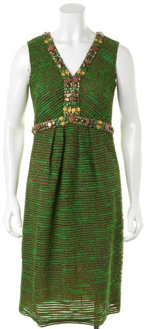OSCAR DE LA RENTA Green Brown Abstract Print Pleated Sheath Dress