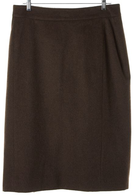 OSCAR DE LA RENTA Brown Felted Pencil Skirt