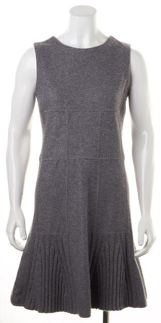 OSCAR DE LA RENTA Gray Felt Wool Cashmere Cable Knit Trim Sheath Dress