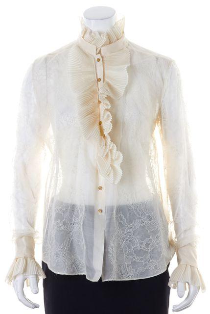 OSCAR DE LA RENTA Ivory Sheer Silk Lace Ruffled Long Sleeve Blouse