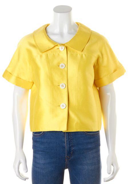 OSCAR DE LA RENTA Yellow Cotton Silk Sateen Short Sleeve Jacket