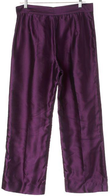 OSCAR DE LA RENTA Purple Silk Tulle Overlay Trouser Dress Pants