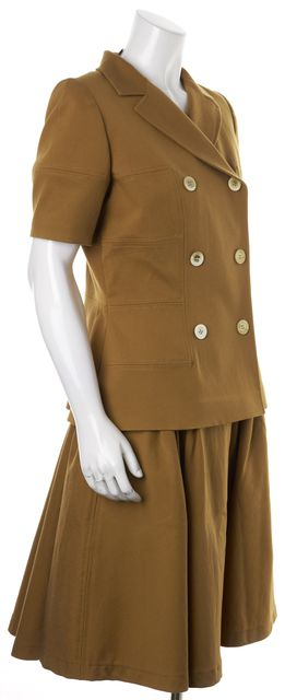 OSCAR DE LA RENTA Brown Double Breasted Short Sleeve Blazer Skirt Suit Set