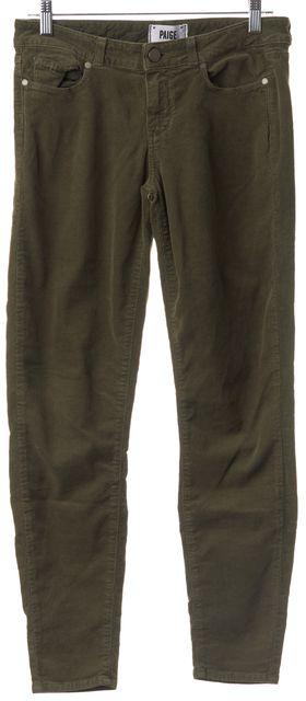 PAIGE Dark Olive Green Skinny Corduroy Pants