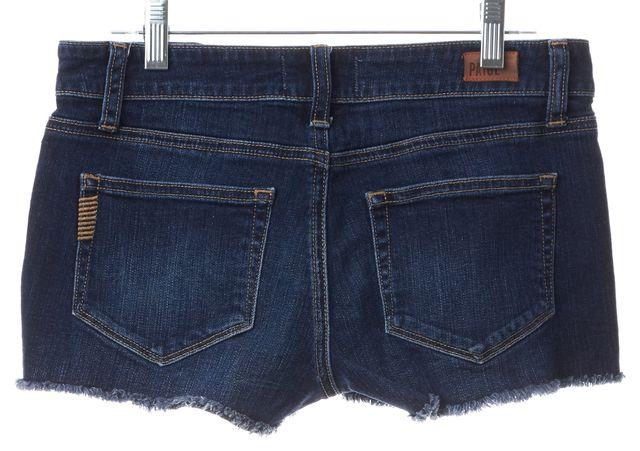 PAIGE Dark Blue Wash Mini, Short Shorts