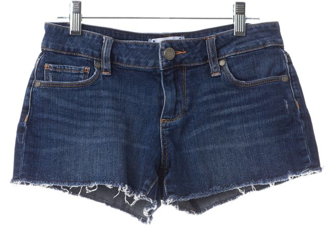 PAIGE Blue Denim Cut Off Mini, Short Shorts