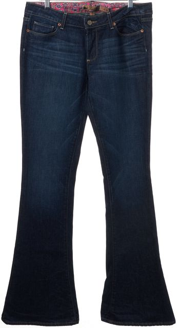 PAIGE Dark Blue Lou Lou Stretch Cotton Wide Leg Flare Jeans