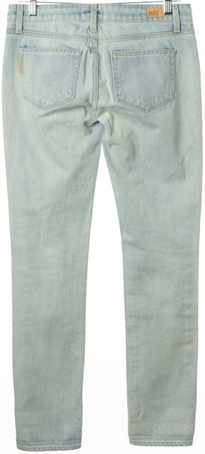 PAIGE Blue Stonewashed Distressed Skinny Jeans