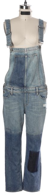 PAIGE Blue Cotton Denim Patch Design Relaxed Overall