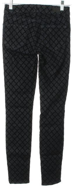 PAIGE Black Velvet Trim Cotton Denim Verdugo Ultra Skinny Leg Jeans