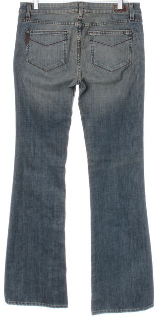 PAIGE Blue Hollywood Hills Mid-Rise Light Wash Flare Jeans