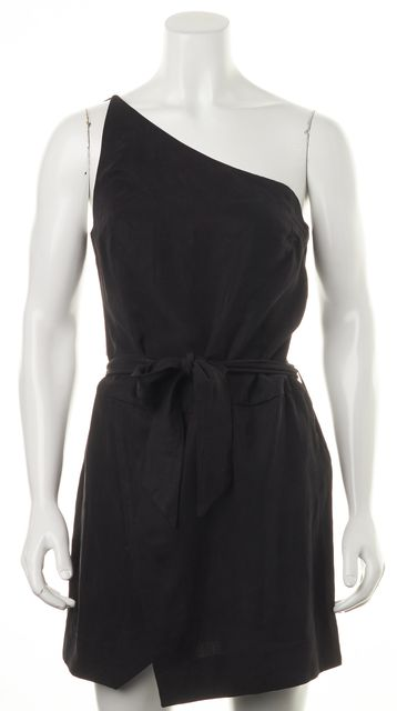 PAIGE Black Judy Belted Above Knee Wrap Effect One Shoulder Dress