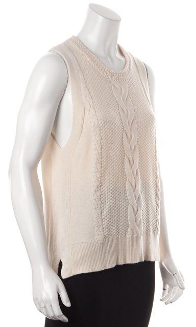 PAIGE Ivory Embellished Sleeveless Crewneck Sweater