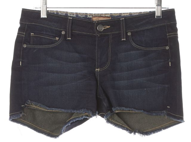 PAIGE Blue Silver Lake Distressed Hem Dark Wash Denim Shorts