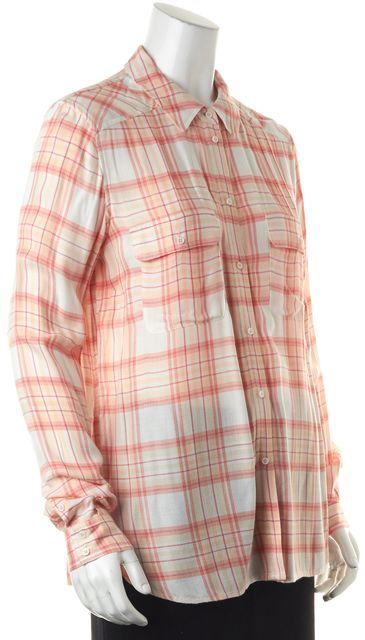 PAIGE Ivory Peach Coral Plaid Woven Button Down Shirt Blouse Top