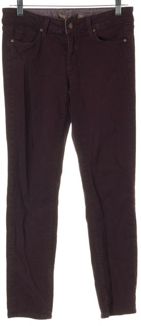 PAIGE Purple Stretch Cotton Mid-Rise Skyline Skinny Jeans