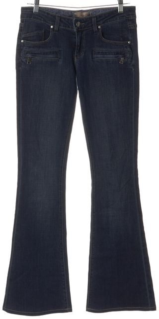 PAIGE Blue Stretch Cotton Low Rise Dark Wash Flare Jeans