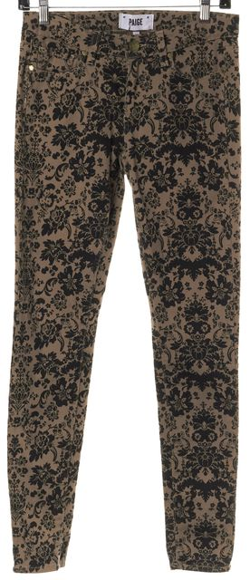 PAIGE Brown Black Floral Paisley Mid-Rise Verdugo Ultra Skinny Jeans