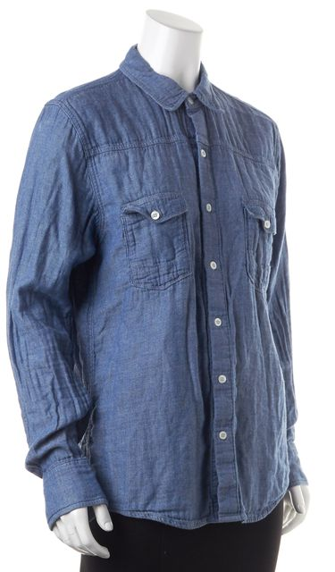 PAIGE Blue Chambray Long Sleeve Button Down Shirt Top