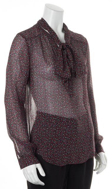 PAIGE Black Deep Purple Floral Long Sleeved Sheer Silk Blouse