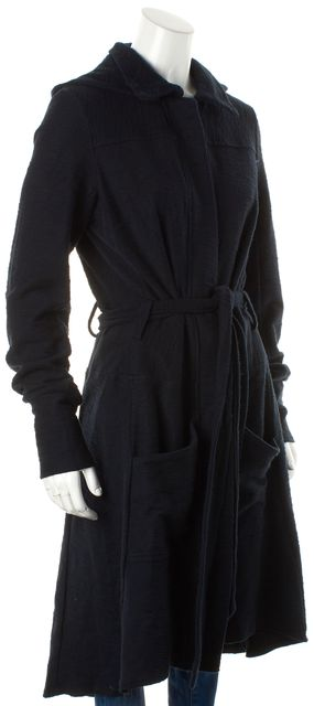 PAIGE Navy Blue Cotton Belted Removable Hood Basic Coat