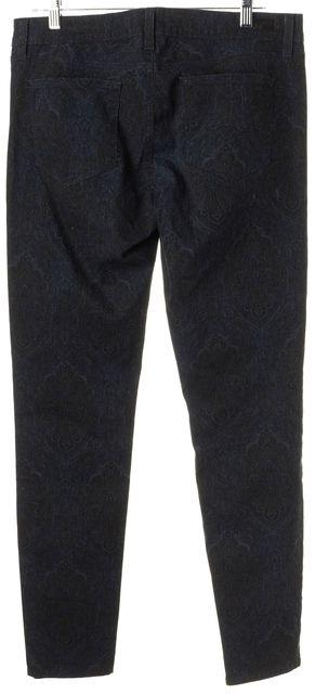 PAIGE Teal Blue Ornate Stretch Cotton Verdugo Ultra Skinny Jeans
