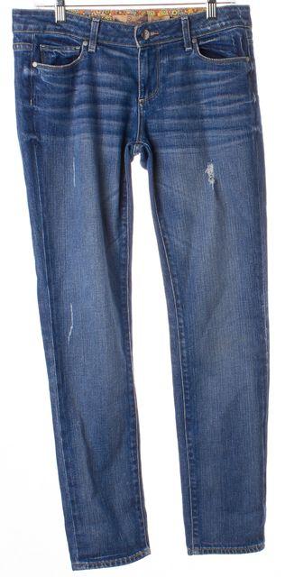 PAIGE Blue Distressed Mid-Rise Slim Fit Jeans