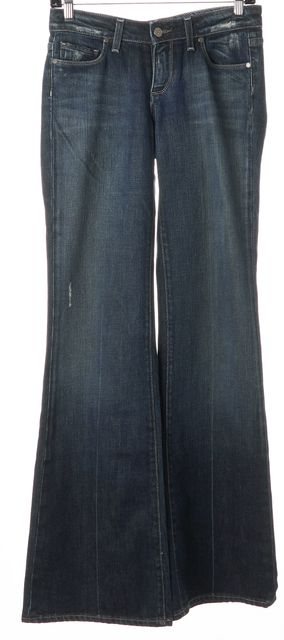 PAIGE Blue Robertson Stretch Cotton Distressed Flare Jeans