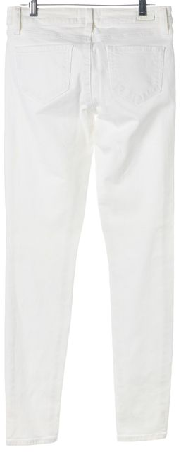 PAIGE Optic White Stretch Cotton Ankle Zip Skinny Jeans