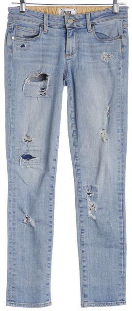 PAIGE Light Blue Distressed Denim Skyline Ankle Peg Skinny Jeans