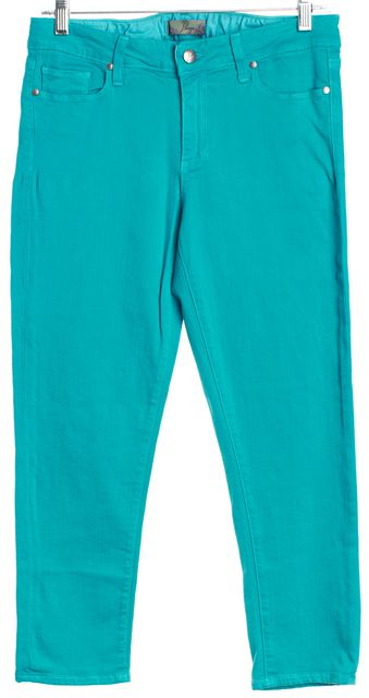 PAIGE Teal Blue Mid-Rise Skinny Ankle Crop Jeans