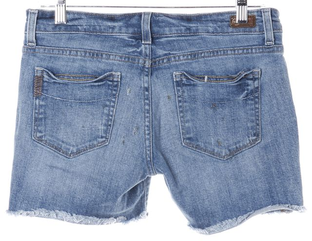 PAIGE Blue Button Front Distressed Hem Jimmy Jimmy Denim Shorts