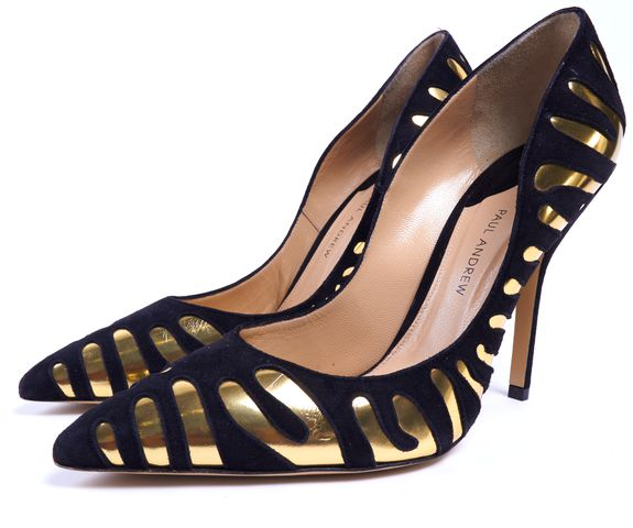 PAUL ANDREW Black Suede Gold Foil Pointed Toe Pump Heels Size 39.5