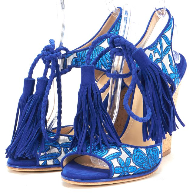 PAUL ANDREW Blue Silver Floral Tapestry Rope Tassel Wedges
