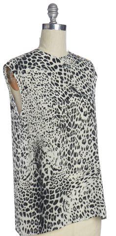 PIERRE BALMAIN Black White Leopard Print Top