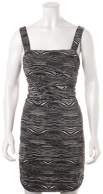 PIERRE BALMAIN Black White Zebra Printed Ruched Bodycon Mini Dress