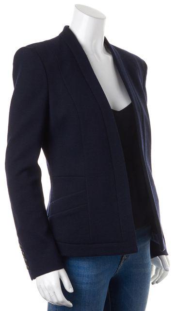 PIERRE BALMAIN Navy Blue Wool Side Pockets Open Blazer