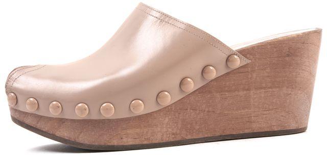 PEDRO GARCIA Nude Leather Peep Toe Wedge Mules