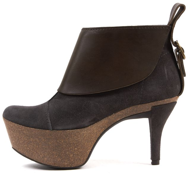 PEDRO GARCIA Gray Brown Suede Leather Platform Ankle Boots